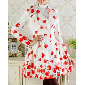 Elegant Turn-Down Collar Cherry Print Double-Breasted Long Sleeve Trench Coat For Women, AS THE PICTURE, L in Jackets & Coats | DressLily.com