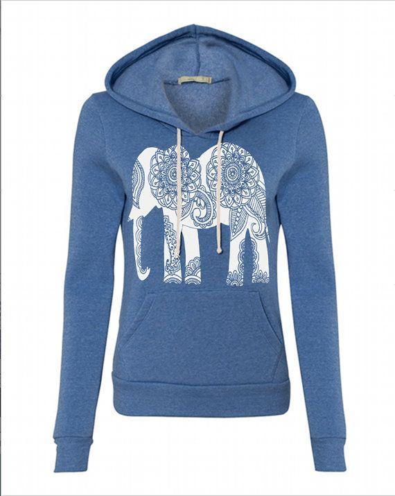 Womens Paisley ELEPHANT Hoodie Sweatshirt Hooded Alternative Apparel Gray, Blue, Pink, Black