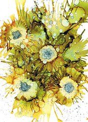 Alcohol Ink Art - Exploding Sun Flowers by Christine Crawford