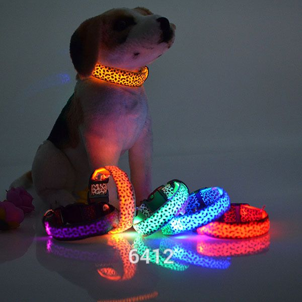 Pet Dog collar Leopard Nylon Safety LED Collar Colorful Flash Light Neck-in Dog…