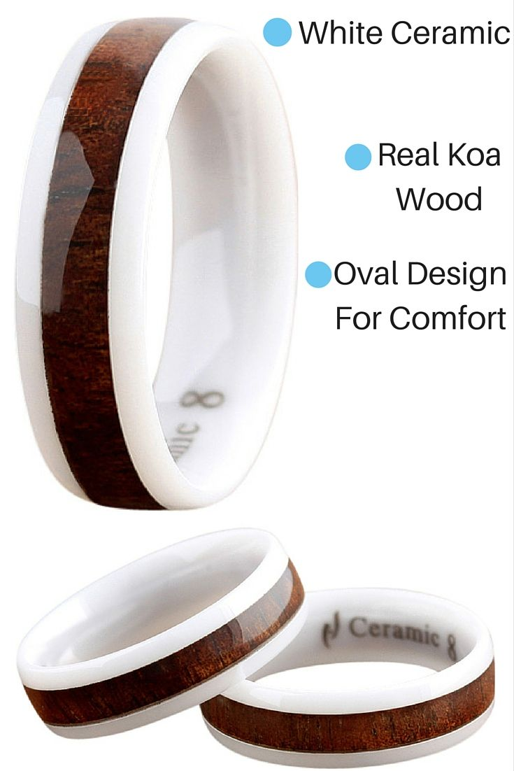 Amazing Mens Koa Wood Wedding Band! This mens wedding band is made out of white high tech ceramic with real koa wood inlaid in the center of the ring!