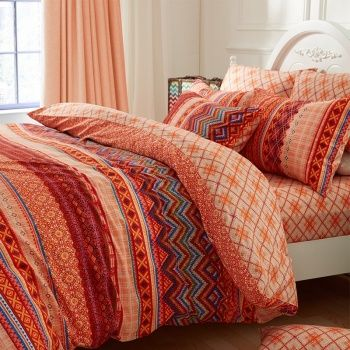 Rust Orange Copper Brown and Coral Chevron Stripe Print Vintage Bohemian Style Southwestern 100% Cotton Full, Queen Size Bedding Sets