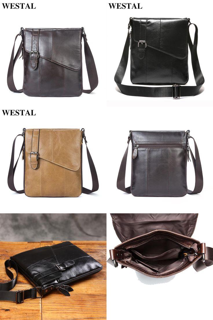 visit to buy westal genuine leather men bags fashion male messenger bag men s small
