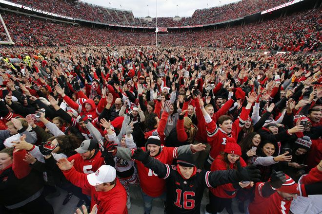 Even if Ohio State goes on to win the national championship this season, that thrill might be the second sweetest the Buckeyes feel this season. It's hard to imagine anything — even a second College Football Playoff title in three years — topping their 30-27 double-overtime victory over Michigan. The largest crowd in Ohio Stadium — 110,045 emotion-whipped fans — witnessed one of the most exciting and improbable games in the history of the storied rivalry.