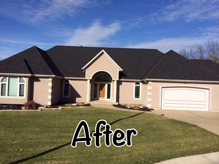 After Owens Corning Onyx Black Before And After Roofing Pictures In 2019 Garage Doors