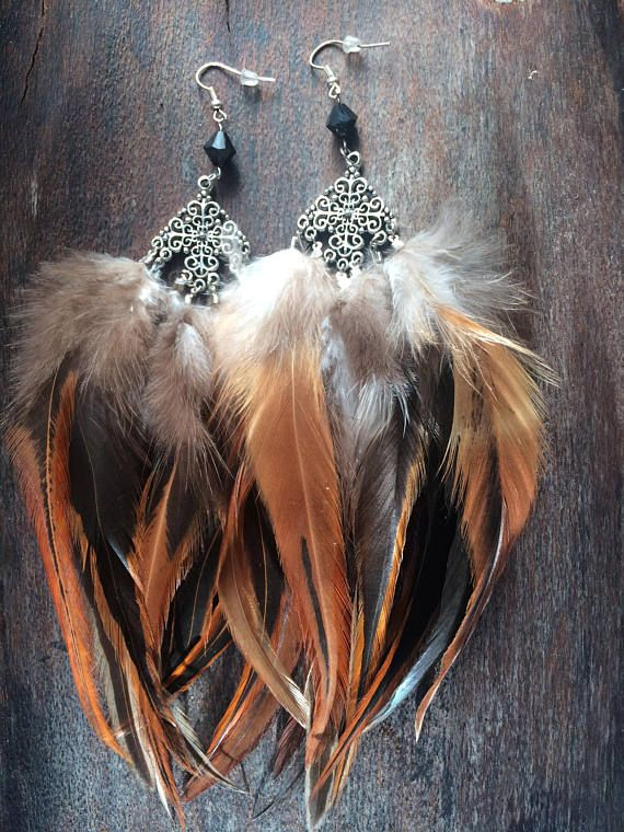 ⭐️⭐️Long Chandelier Boho Hippie Festival Gypsy Tribal Native Black Glass Bead Silver Filigree Brown Natural Rooster Feather Unique Earrings OoaK⭐️⭐️ One of a kind feather earrings, I can gaurantee that there will never Be another pair like these! Each pair of earrings made by