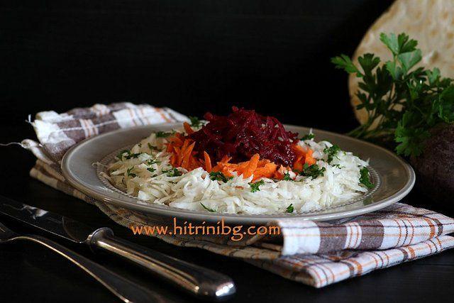 В моето семейство вкусната салата витамина се предпочита в есенно-зимния сезон, когато градинските домати вече ги няма. Всички кореноплодни са изключително