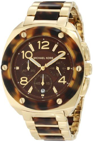Michael Kors Tribeca Tortoise Acetate and Stainless Steel Brown Dial Watch -- Th...