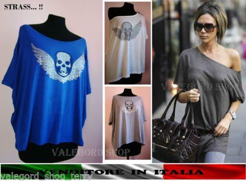 Maxi-maglia-Maglietta-top-shirt-TESCHIO-alato-STRASS-monospalla-Vic-Beckam-stile