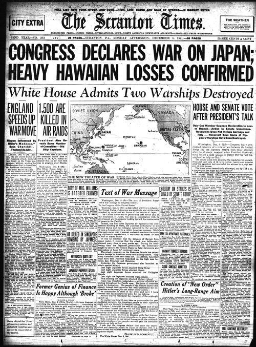 Attack on Pearl Harbor, The Scranton Times from Dec. 8, 1941 #history