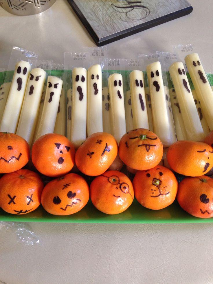 "Cheese stick ghost and mandarin Orange ""pumpkins"" healthy Halloween treats for k…"