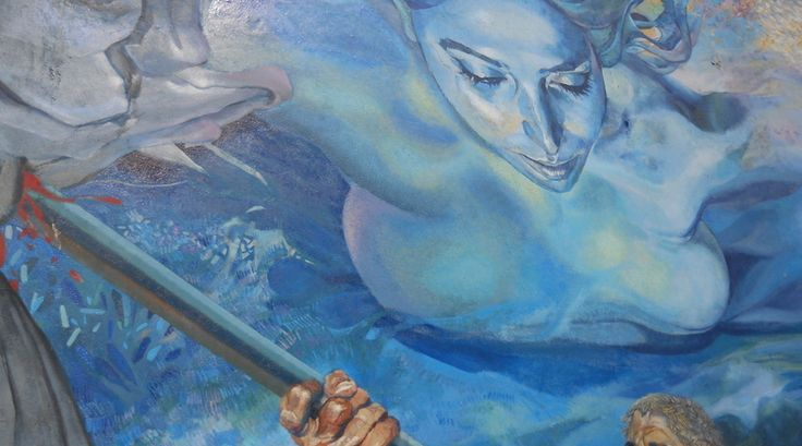 Een muurschilderij op het stadhuis vlak voor het begin van de Via dell'Amore in Riomaggiore.  https://www.reiskrantreporter.nl/reports/1140-cinque-terre-route