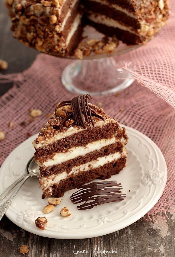 Tort de ciocolata si crema de lapte - detaliu felie