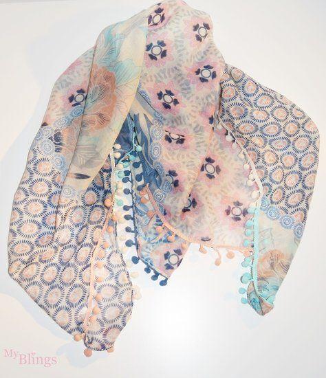 Dames sjaal blauw,roze en mint - myblings.nl