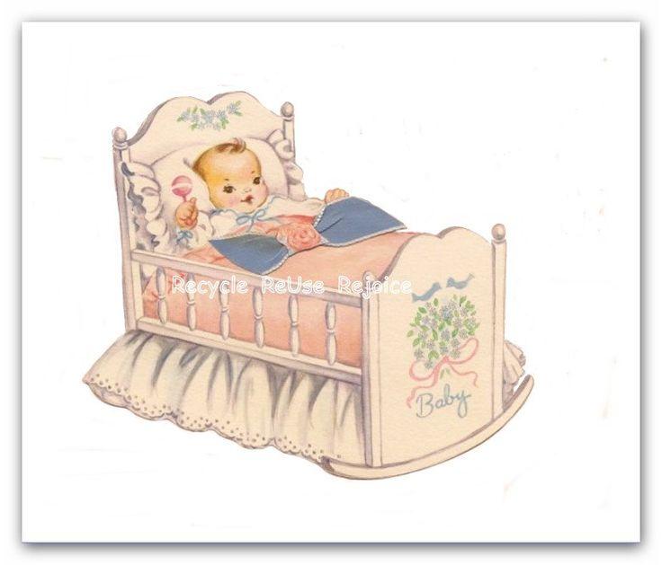 Vintage Baby Digital Image 1950s Baby Gift Card Download