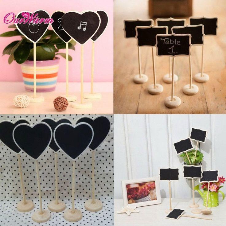 6Pcs/lot Vintage Mini Wood Chalkboard Blackboard Wooden Place Card Holder Table Number for Wedding Event Party Decoration