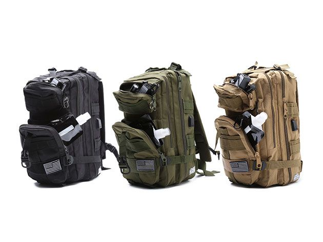 Fully Loaded Tactical Military Style Backpack: This Backpack Doesn't Mess Around. Comes with a Flashlight, Battery, & Water Flask.