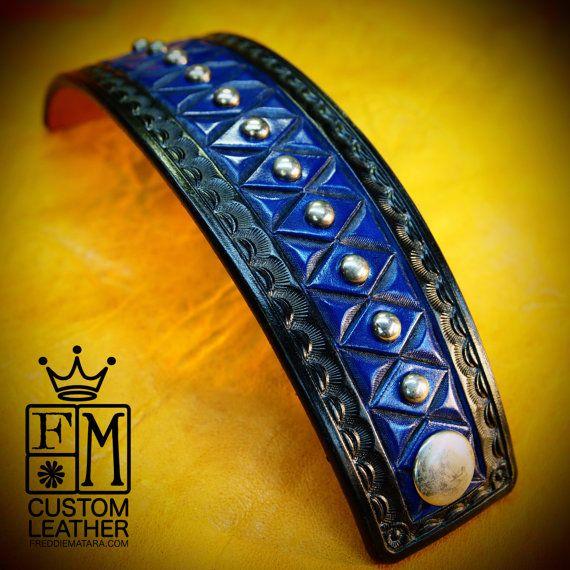 Leather cuff bracelet American Cowboy King Black by mataradesign