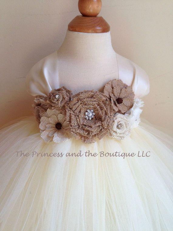 Flower girl dress Burlap tutu dress baby by Theprincessandthebou