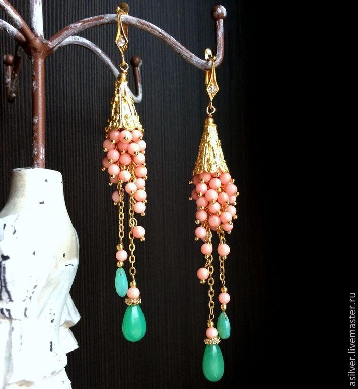 """Купить Серьги """"Коралловая нежнсть"""" - коралловый, розовый коралл, розовые серьги, Серьги-грозди"""