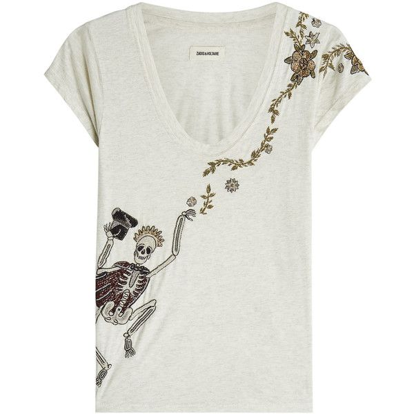 Zadig & Voltaire Embellished T-Shirt ($155) ❤ liked on Polyvore featuring tops, t-shirts, beige, embellished top, embellished t shirts, x ray t shirts, decorating t shirts and beige top