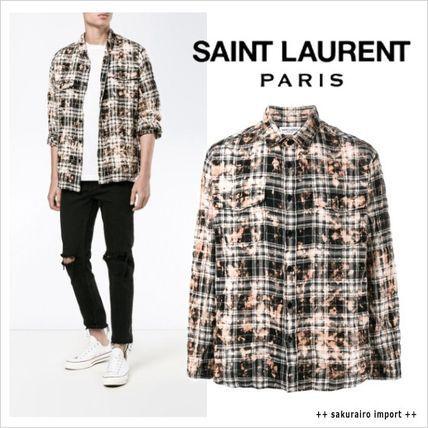 ●人気●2016-2017●Saint Laurent Bleached チェック シャツ サンローラン 2016-2017 ファッション