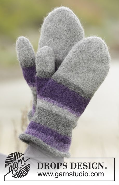 Polar Stripes by DROPS Design - pretty #felted mittens in DROPS Lima. Free #knitting pattern
