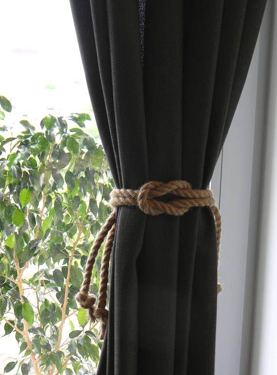 Square Knot Nautical Curtain Tie Backs Beach Decor Jute Rope