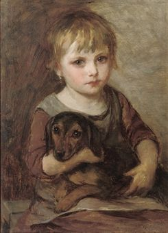 Young Girl and Her Dachshund Art by Mihaly Munkacsy, Hungarian Artist, circa late 1800's