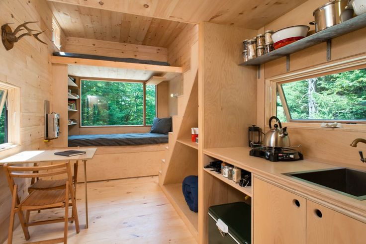 Tiny houses aren't usually occupied by more than one or two people, but the Ovida has two lofts and a sleeping nook, allowing for a larger group.