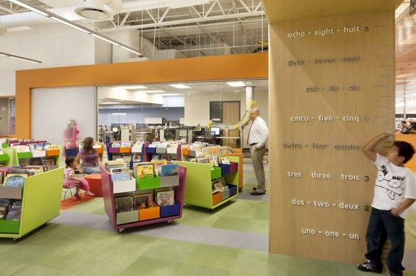 The city of McAllen took an empty Wal-Mart warehouse and transformed it into the largest single-story library in the country! It has also won an Interior Design award for its unique colors, lighting, and creative use of space. For example, the colorful children's area was inspired by the Fibonacci Series of numbers. Form meets function!