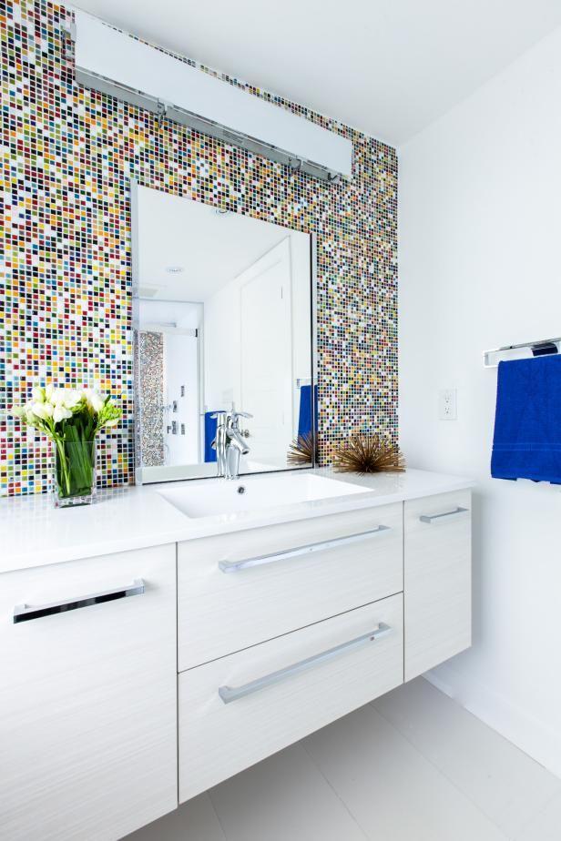 Multicolor Mosaic | HGTV >> http://www.hgtv.com/design-blog/design/9-bold-bathroom-tile-designs?soc=pinterest