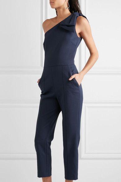 MSGM   Bow-embellished one-shoulder cotton-blend jumpsuit   NET-A-PORTER.COM