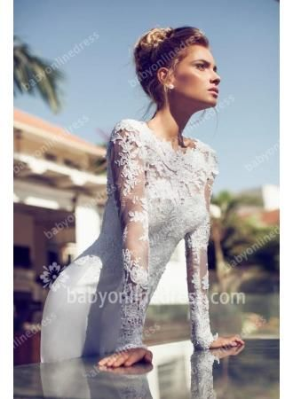 $169--2014 Sexy Wedding Dresses Jewel Sheer Long Sleeves Backless A-line Chiffon Court Train Lace Applique Bridal Gowns