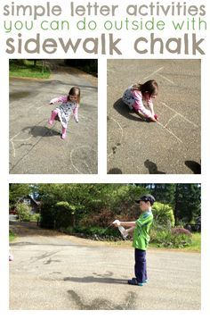 Perfect for summer! Easy letter and spelling activities using sidewalk chalk.