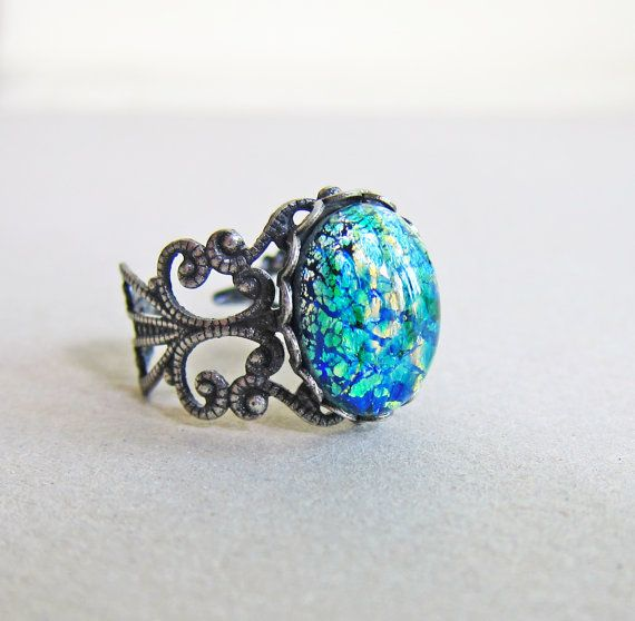 Fire Opal Ring Emerald Green Ring The Great Gatsby Jewelry Vintage Style Green Fire Opal Antique Silver Ring LOTR Lord of the Rings on Etsy, $22.00