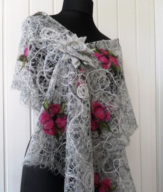 Gray handmade shawl , crazy wool technique, for women