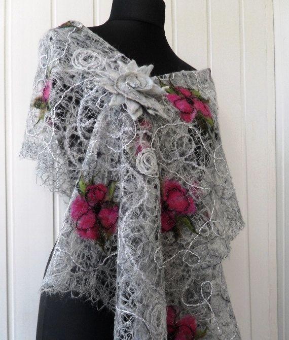 Gray handmade shawl , crazy wool technique, for women