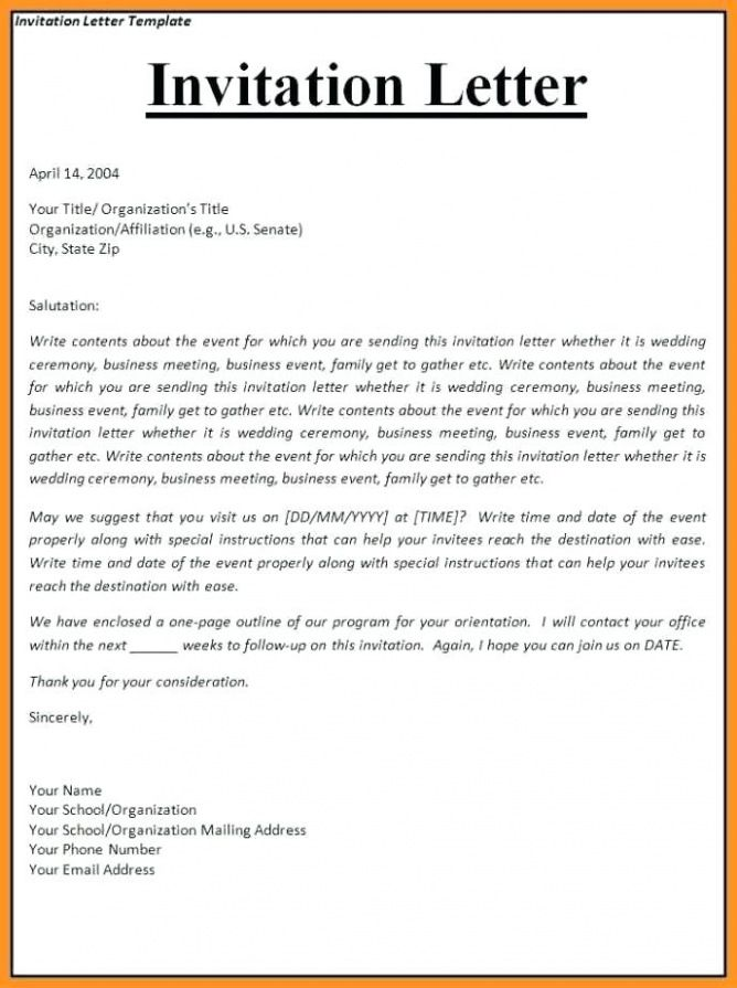 Letter Of Invitation To Canada
