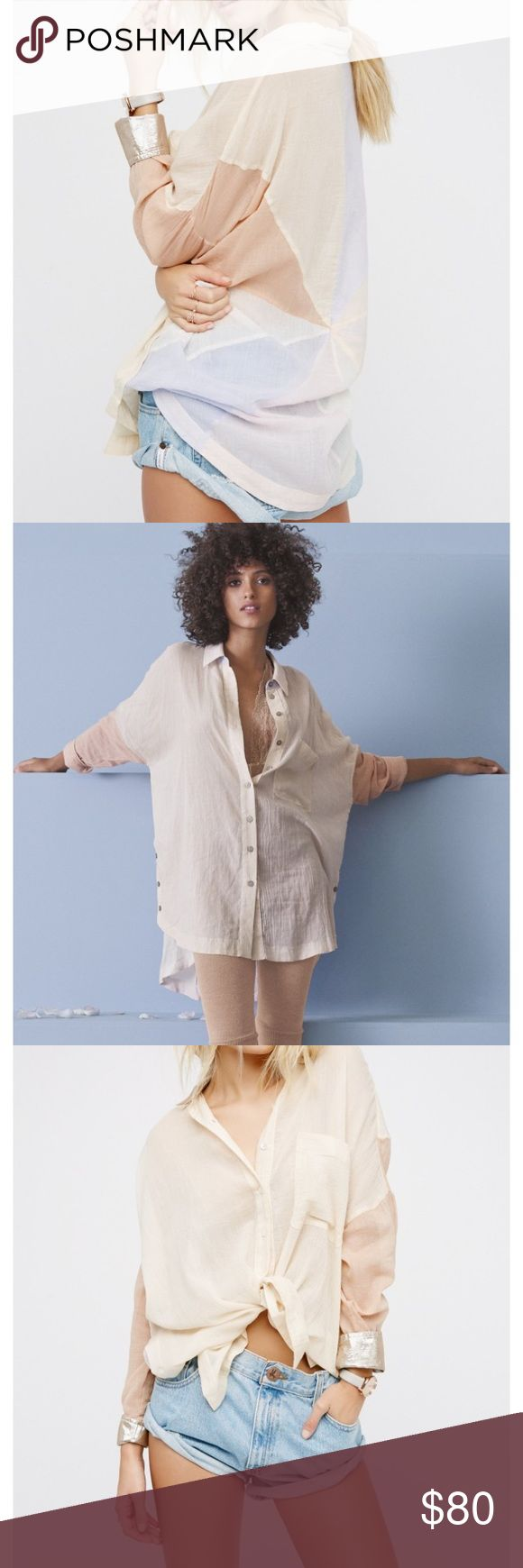 Free People Rainbow Days Button Down Shirt Lightweight sheer buttondown with a crinkly look. Features a multi-coloured pinwheel back design inspired by beautiful rays of light. Shimmering metallic accents on the collar and sleeve cuffs. Side vents with button closures. Front pocket detail. Relaxed, oversized, effortless fit. Long enough to work as mini shirt dress if you wear a slip underneath. Large. (L sold out online) Free People Tops Button Down Shirts