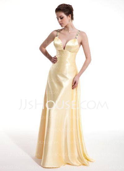 Prom Dresses - $132.99 - A-Line/Princess V-neck Floor-Length Charmeuse Prom Dresses With Ruffle  Beading (018004804) http://jjshouse.com/A-Line-Princess-V-Neck-Floor-Length-Charmeuse-Prom-Dresses-With-Ruffle-Beading-018004804-g4804