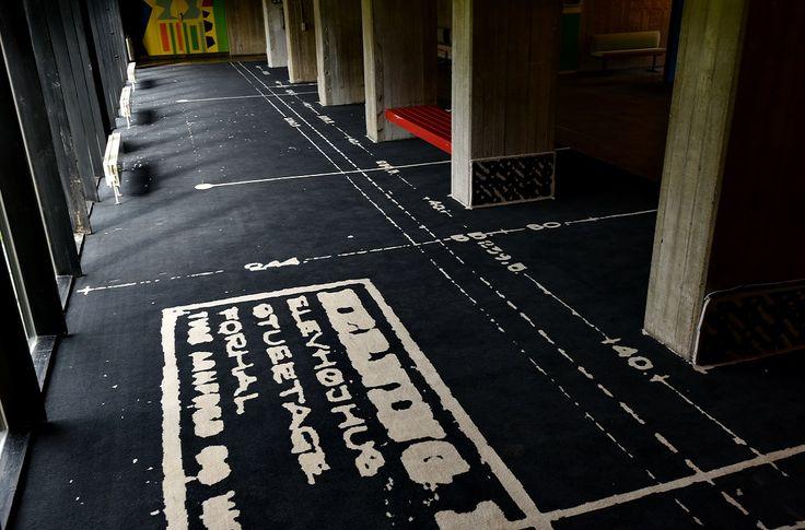 "Carpet Art by Mischa Kuball: ""Translocating ELEVHØJHUS, 2017"" installed at HERNING HØJSKOLE"