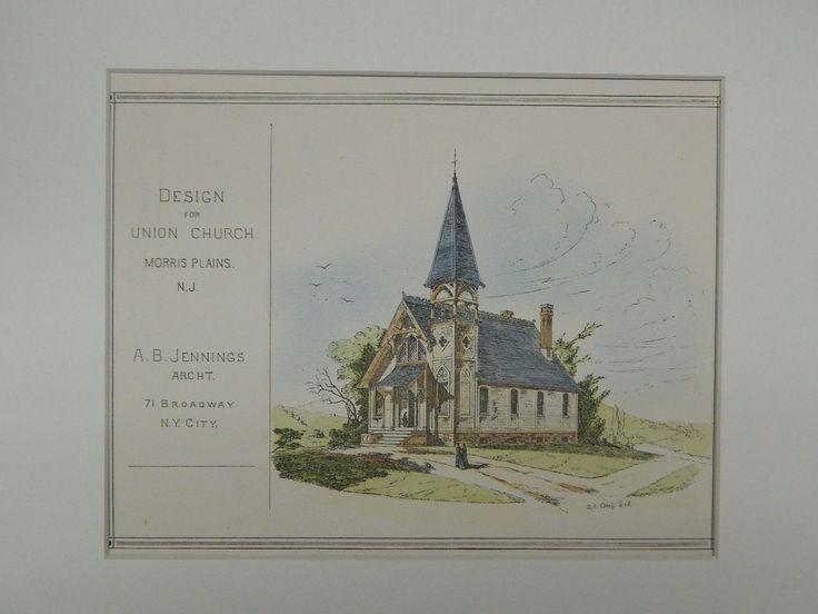 Design for Union Church, Morris Plains, NJ, 1877, Original Plan. A.B. Jennings.
