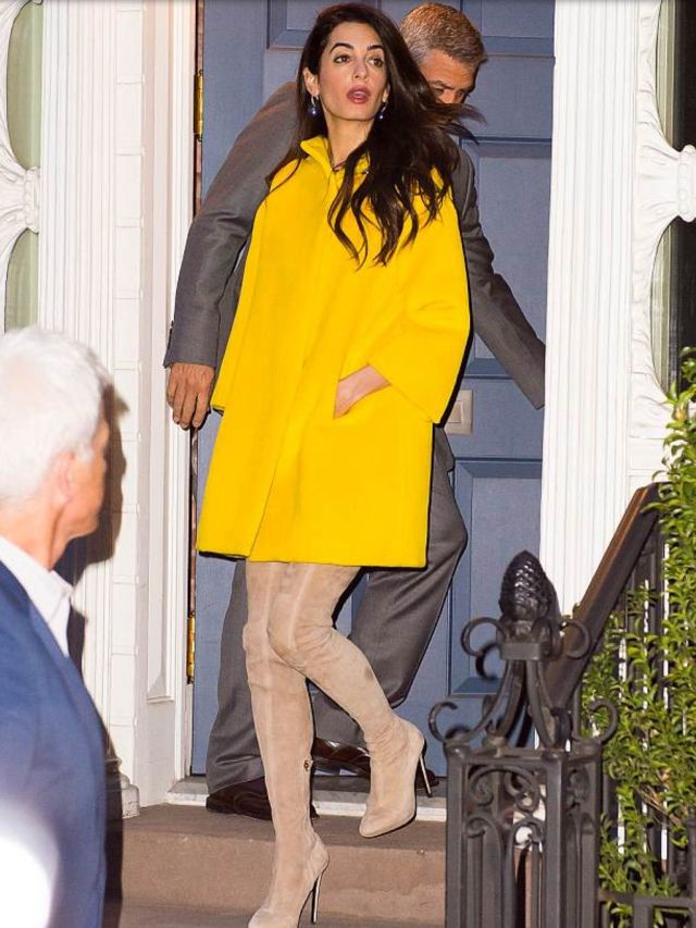 b1449b382 Amal Clooney out in New York in a Lanvin yellow coat from the Pre Fall '18  collection and Lanvin over Knee boots. 06.04.2018