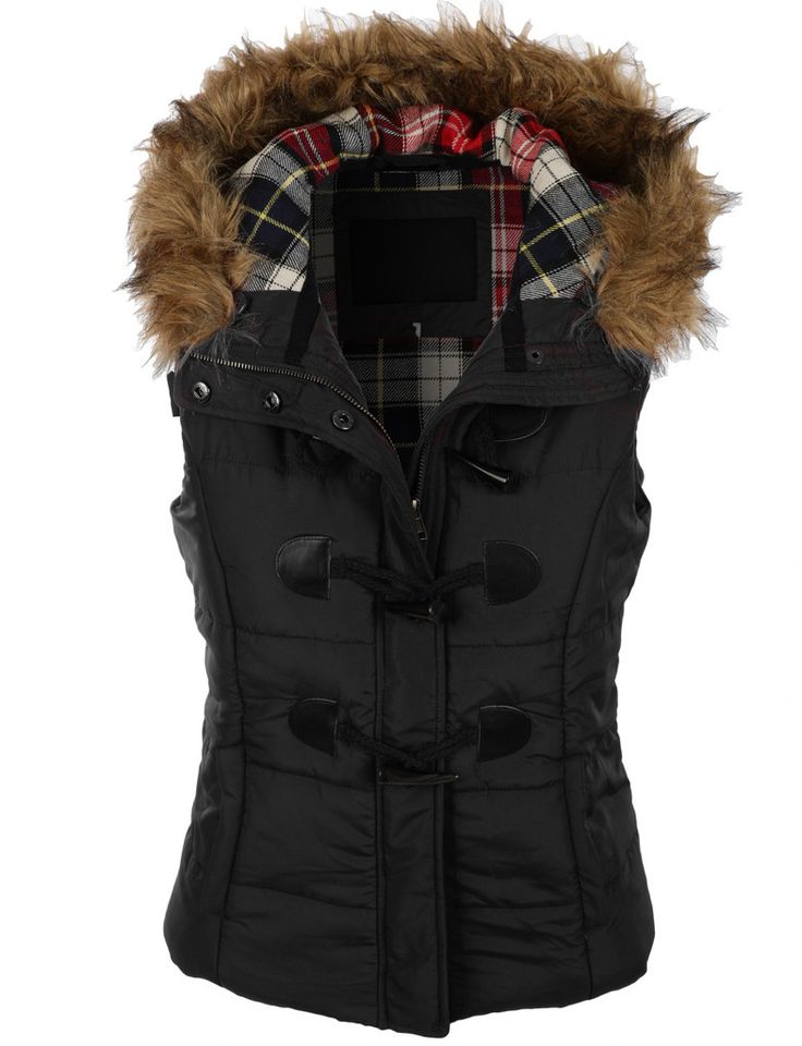 Le3no Womens Classic Toggle Padded Puffer Jacket Vest With