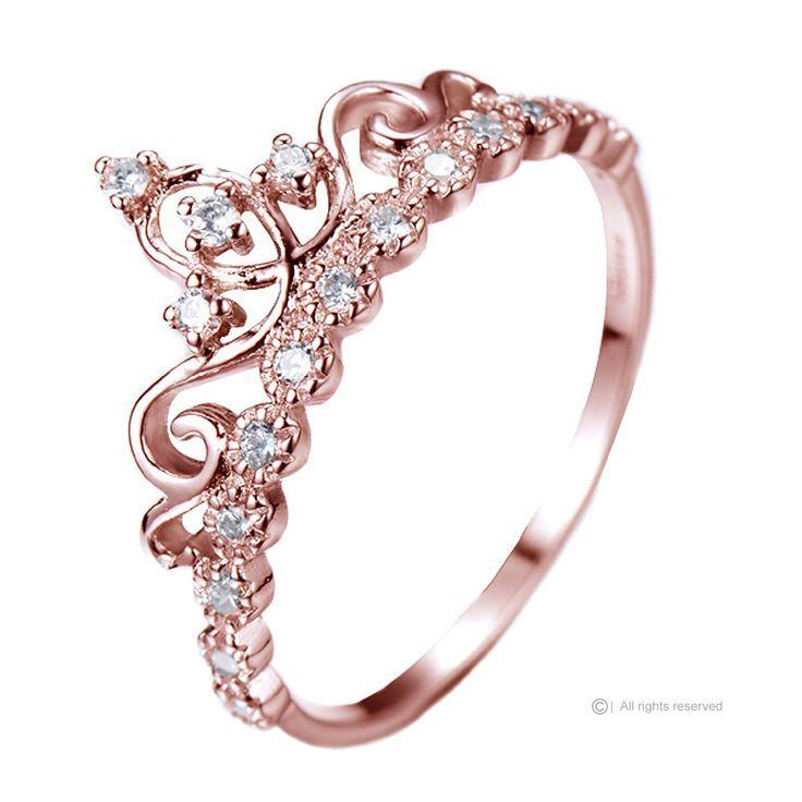 Dainty 14K Rose Gold Princess Tiara Crown & CZ Ring