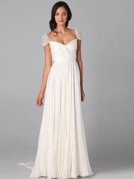 A-line Chiffon Square Natural Waist Sweep/Brush Train V-back Cap Sleeve Beading Ruching Prom Dress