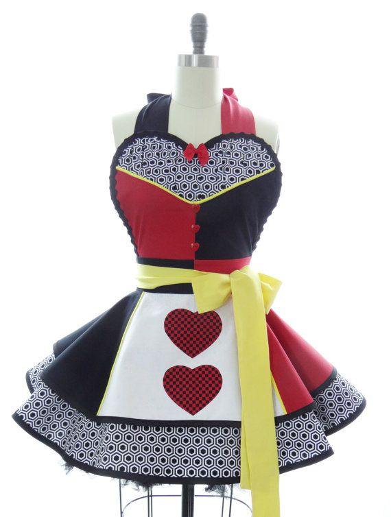 Retro Apron - Queen of Hearts Sexy Womans Aprons - Vintage Apron Style - Wonderland Pin up Villian Rockabilly Cosplay