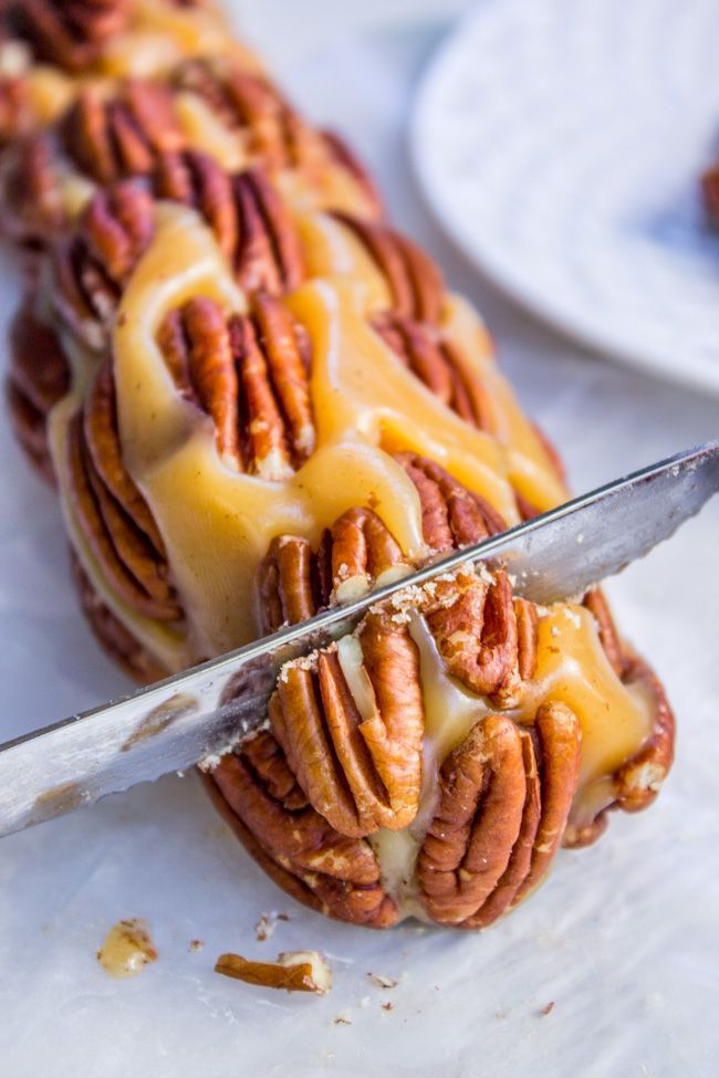 Vanilla nougat, wrapped up in soft caramel, with a layer of pecans on the outside to make a perfect candy log. Perfect for host or Christmas neighbor gifts.
