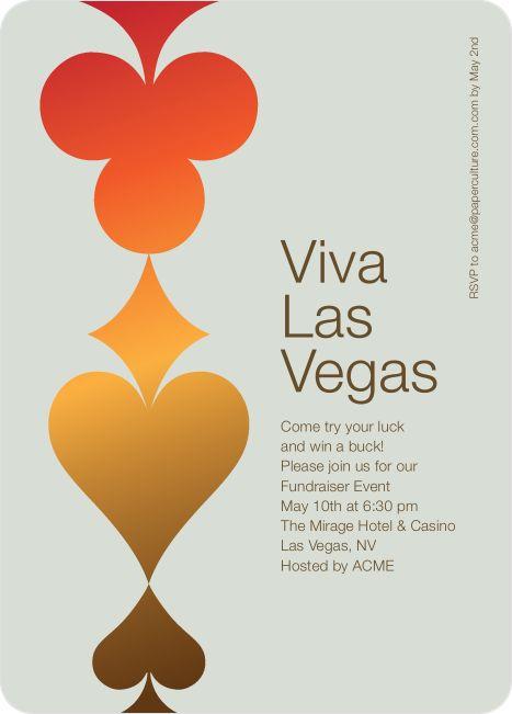 Casino Night Viva Las Vegas Party Invitations